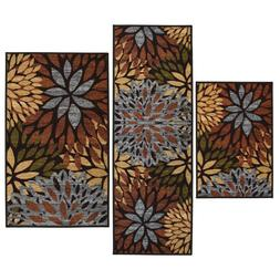 Throw Rugs 3 Piece Set Floral Contemporary Bedroom Area Floo