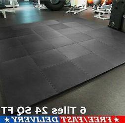 6Pcs Interlocking Floor Mat EVA Foam Tiles Wood Grain Gym Ex