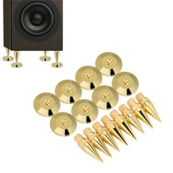 8X Speaker Cone Copper Spike Isolation Stand Feet + 8X Base