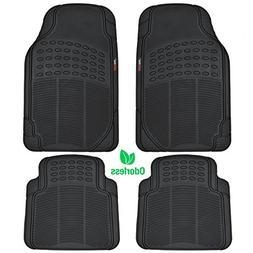 MotorTrend MT-754-BK Heavy Duty Rubber Floor Mats - Odorless