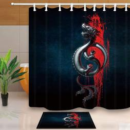 Ancient Asian Retro Art, Flying Oriental Yin-Yang Dragon Mil