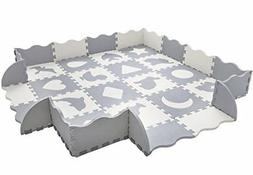 Baby Play Mat with Fence Interlocking Foam Floor Tiles Toddl