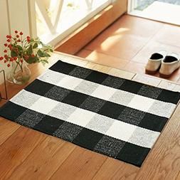 Wolala Home Black White Plaid Stripes Cotton Washable Rug Du