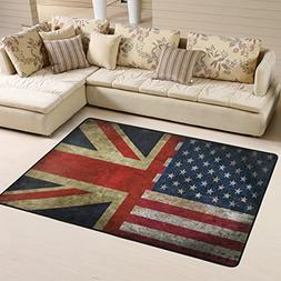 Naanle British and American Flag Non Slip Area Rug for Livin