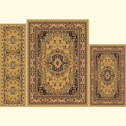 Throw Rugs Brown 3 Piece Set Living Room Area Floor Mat Runn