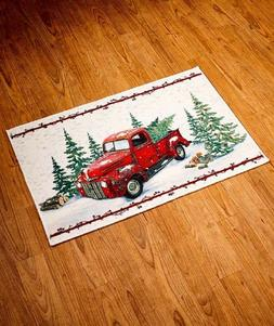Country Kitchen Rug Floor Mat Vintage Red Pick Up Truck Laun