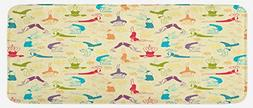 Lunarable Doodle Kitchen Mat, Workout Fitness Girls in Diffe