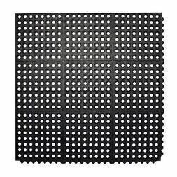 Durable Anti-Fatigue Rubber Floor Mat, Interlocking Commerci