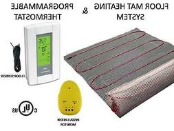 Electric Tile Radiant Warm Floor Heat Heated Kit, Mat with A