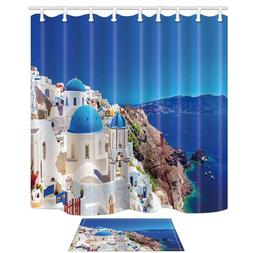 European City Decor Santorini Greece Scenery Stone Palace Mi
