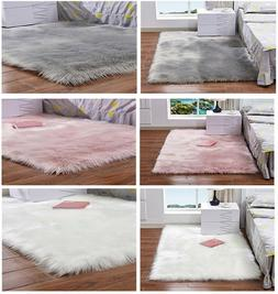 Faux Fur Sheepskin Rug Fluffy Mat Pad Room Sofa Bed Hairy Sh