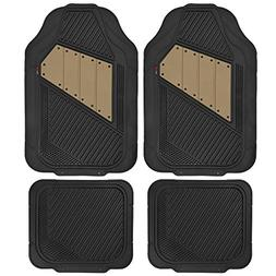 Motor Trend FlexTough 2 Tone Rubber Car Floor Mats for Auto