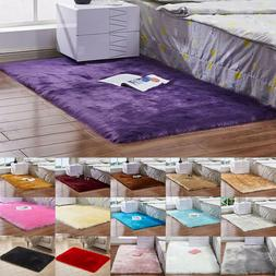 Fluffy Rugs Anti-Skid Shaggy Area Rug Bedroom Carpet Living