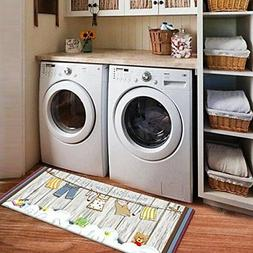 Fresh Bubbles and Suds Non Skid Floor Runner Laundry Room Ma