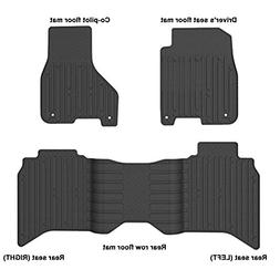 WINUNITE Front & Rear Black Slush Floor Mats for 2013-2017 D