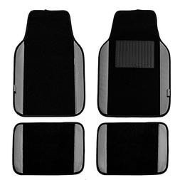FH Group Gray/Black Universal Fit Carpet Floor Mats with Fau
