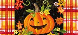 Evergreen Happy Jack-O-Lantern Decorative Mat Insert, 10 x 2