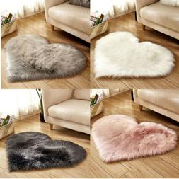 Hot Heart Shaped Shaggy Faux Fur Fluffy Rug Hairy Carpet Flo