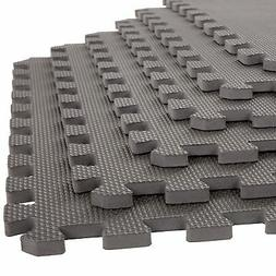 Stalwart 6 Pack Interlocking EVA Foam Floor Mats Gray 24x24x