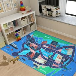 Kids Area Rugs Car Play Crawling Activity Mat Road Floor Gam