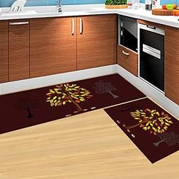 HEBE Kitchen Rugs Set of 2 Piece Non-Skid Kitchen Mats and R