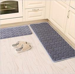 Kitchen Rugs,CAMAL 2 Pieces Non-Slip Memory Foam Kitchen Mat