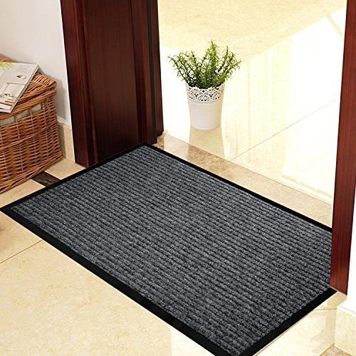 "2-Pack Mats for Entryway, 17"" x All Door for Traffic Grey Black Mats Shoe Scraper, Mat with Rubber"
