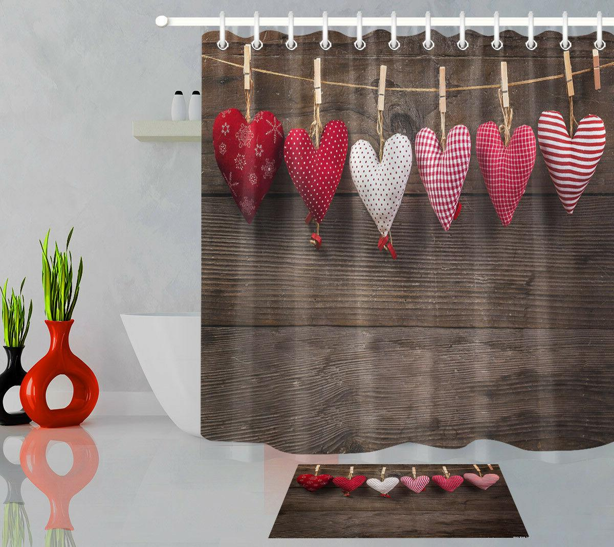 "72"" Waterproof Bathroom Shower Curtain Wood Floor Hearts Pol"