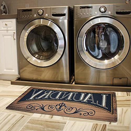 Ustide Wood Print Floor Rug For Laundry Room