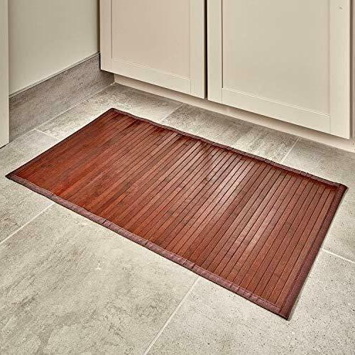 Bathroom Bamboo Smooth Floor Mat Exotic Shower Bath Non Skid