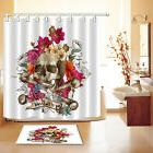 bathroom halloween skull and flowers shower curtain