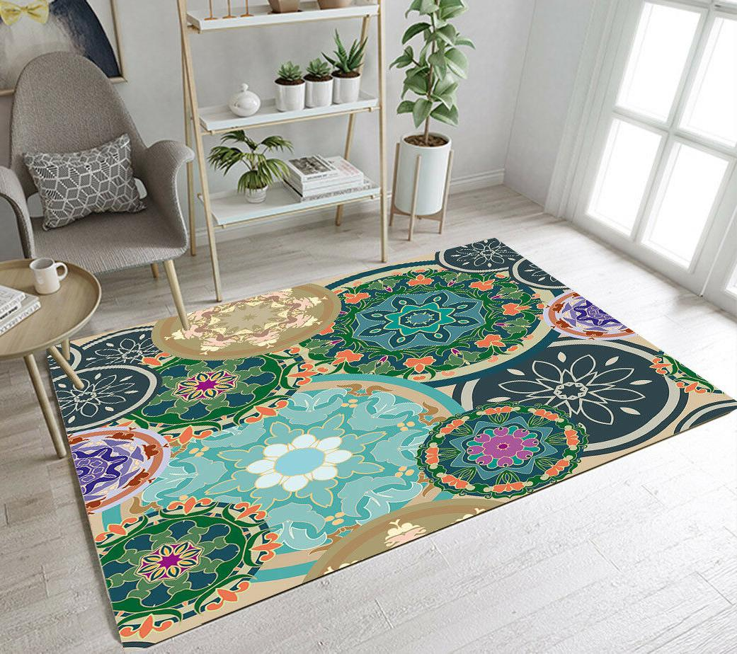 Beautiful Exotic Mandala Floral Floor Mat Bedroom Carpet Liv