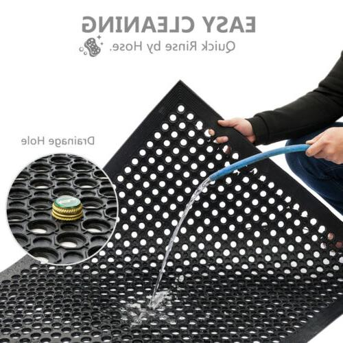 Heavy Floor Mat Anti Fatigue Rubber Drainage Black x