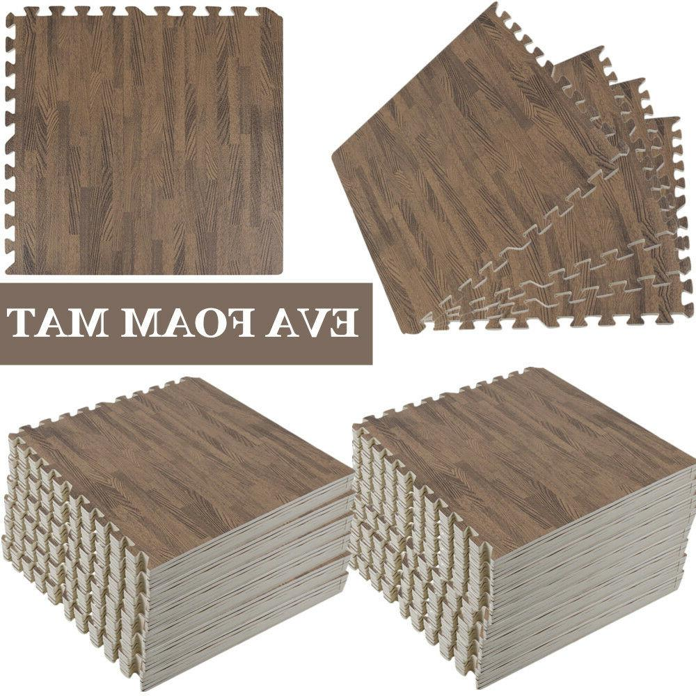 Large Deep Wood Interlocking Floor Mat EVA Foam Puzzle Tiles