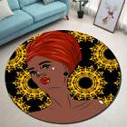 Ethnic African American Woman Round Carpet Living Room Area