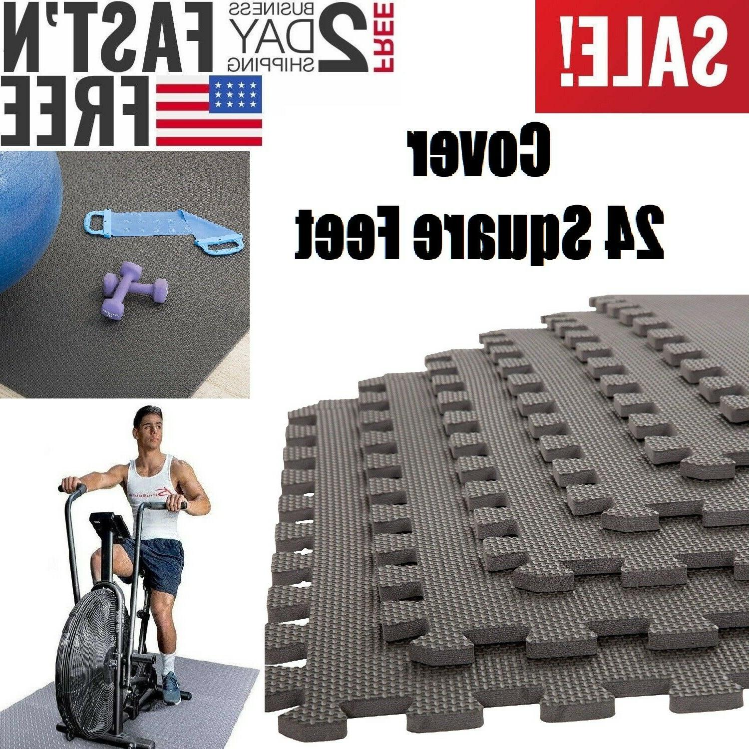 Floor Mat Exercise GYM RUBBER FLOORING Tiles Garage Home Fit