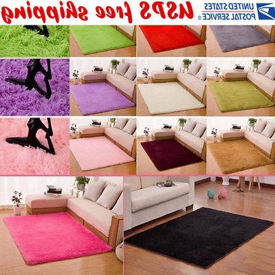 Fluffy Rugs Anti-Skid Shaggy Area Rug Home Living Room Bedro