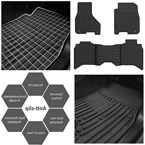 WINUNITE & Rear Black Floor Mats for Dodge 1500 Crew Weather Carpet for Dodge Ram 3500 4500 Crew Cabs Floor Liner Set