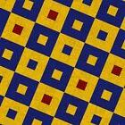 "HERALD SQUARE Floor Mat, 48x60 or 96"", Yellow Blue Red Patte"