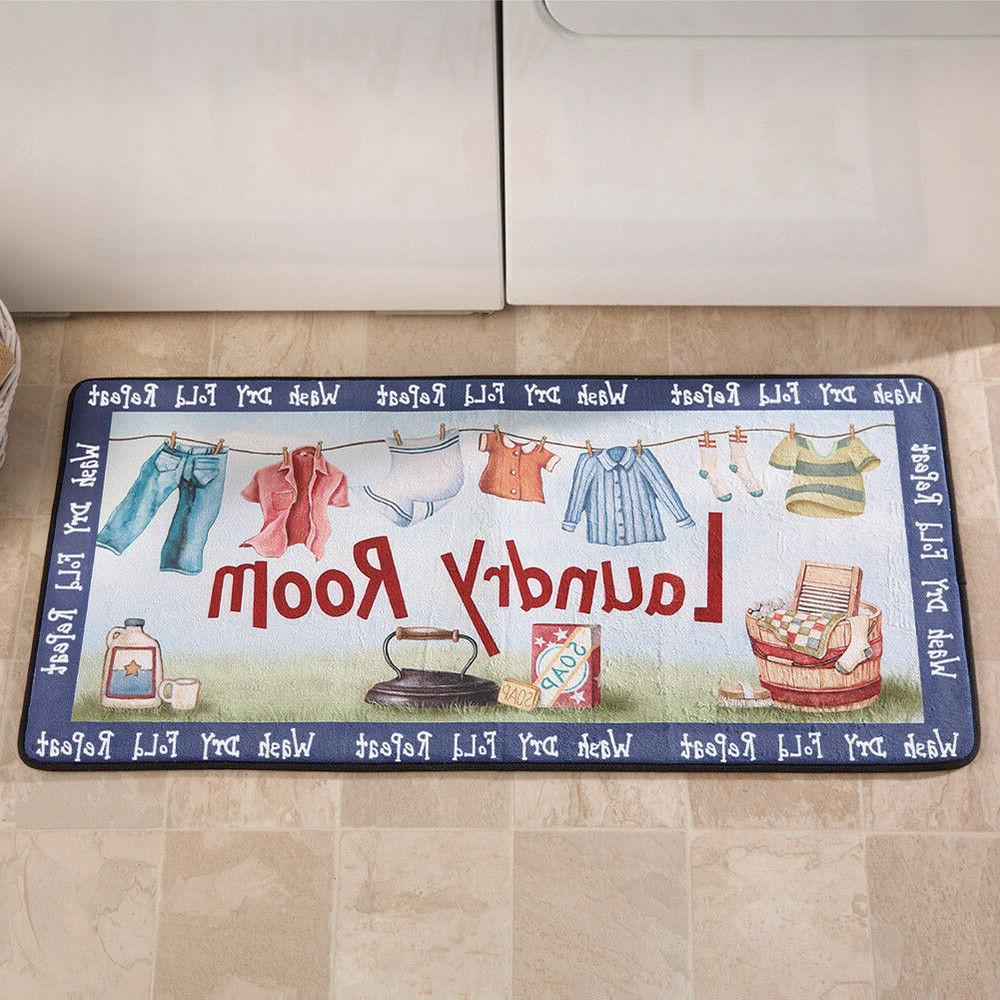 Laundry Room Floor Rug Home Fun Decoration Soft Mat Colorful