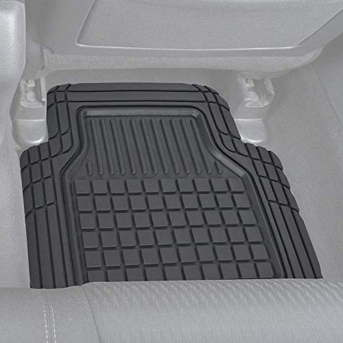 Motor Trend Rubber Floor Mats-Classic Square Grid Fit Feature, Odorless