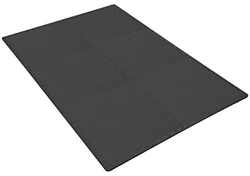 BalanceFrom Exercise with EVA Foam Interlocking Tiles, Black