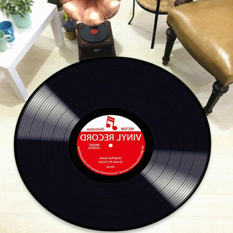 Vinyl Record Printed Soft Round Floor Mat Carpet Bedroom Liv