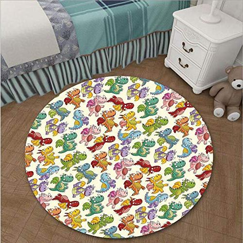 iPrint Round Decal Strikers/Removable/Cartoon Fire Expressions Flying Fairy Tale Living