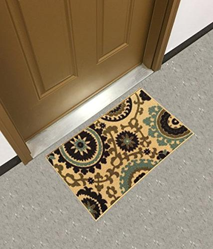rubber backed mat floral swirl