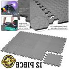 12 Pcs Rubber Gym Floor Mat Foam Flooring Exercise Workout F