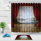Stage Wood Floor Mountains Shower Curtain Liner Bathroom Mat
