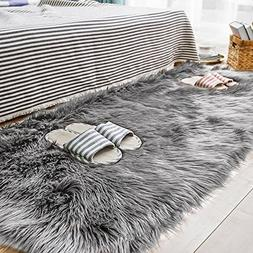 Carvapet Luxury Soft Faux Sheepskin Fur Area Rugs for Bedsid