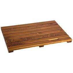 Ollieroo Luxury Spa Solid Teak Bath Mat, Indoor/Outdoor Show