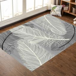 Modern Rugs Area Carpet Crystal Velvet Feathers Contemporary